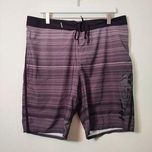 Hurley Phantom Black & Gray Stripe Board Shorts
